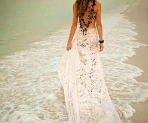 beach, dress, and lace image