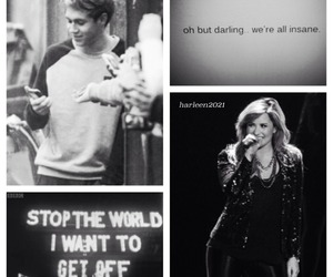 black and white, demi lovato, and niall horan image