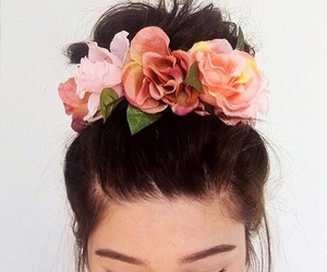 flowers, hair, and bun image