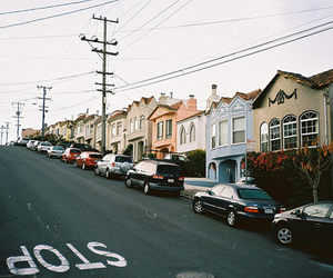 cars, house, and street image