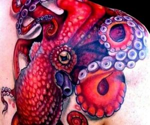 octopus, red, and shoulder tattoo image