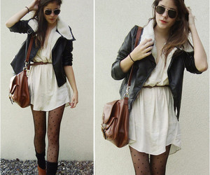 nylons, leather jacket, and city outfit image