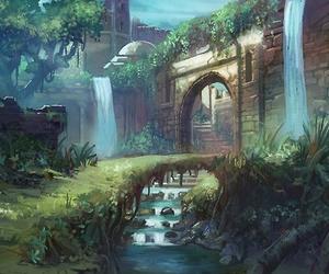 fantasy, bridge, and waterfall image