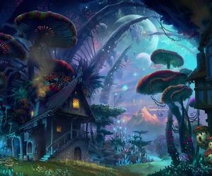 fantasy, galaxy, and mushrooms image