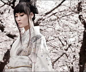 black hair, flowers, and japan image