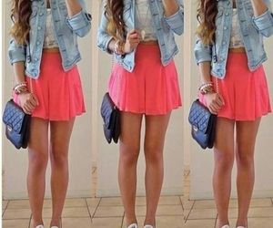 denim jacket, hot pink, and jewelry image