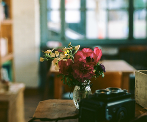 flowers, camera, and vintage image