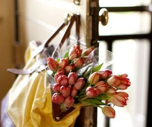 bag, floral, and spring image