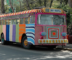 bus, knit, and colorful image