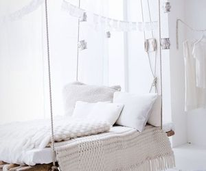 white, bed, and interior image
