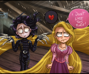 disney, rapunzel, and edward scissorhands image