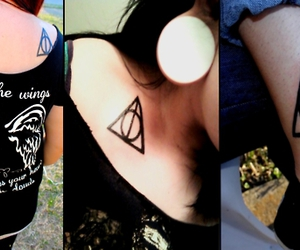 deathly hallows, harry potter, and girls image