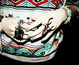 owl, rings, and tribal image
