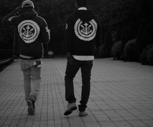 anchor, hoodie, and b&w image