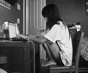 girl, black and white, and computer image