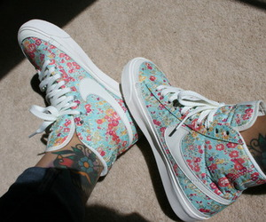 nike, floral, and shoes image