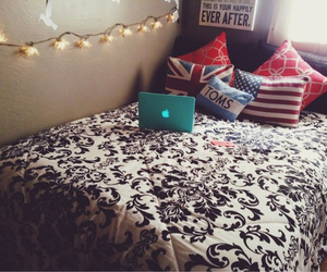 bed, lights, and tumblr room image