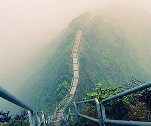 nature, mountains, and stairs image