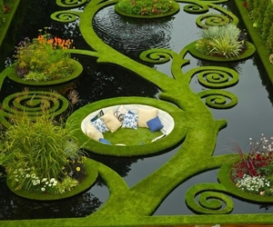 garden, green, and water image