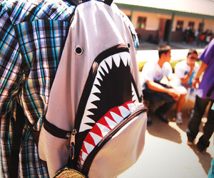 shark, boy, and backpack image