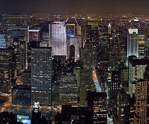 new york, city, and night image