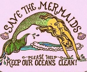 mermaid, ocean, and save image