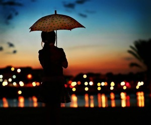 umbrella, light, and night image