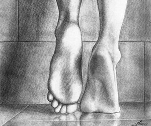 drawing, feet, and girl image