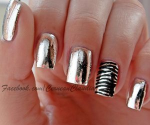 black, nails, and zebra image