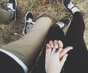 cute couple, vans off the wall shoes, and tumblr image