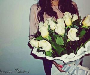 girl, pink, and roses image