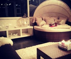 bed, candles, and interior image