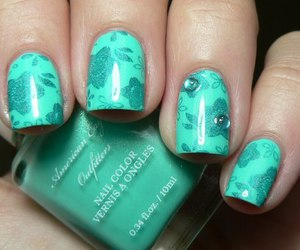 nails, flowers, and green image