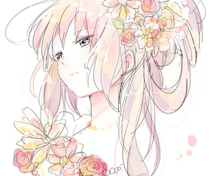 girl, flowers, and anime image