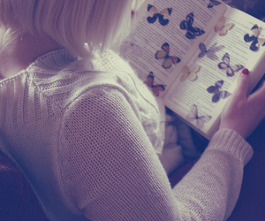 book, butterfly, and girl image