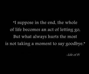 Life of Pi, quote, and goodbye image