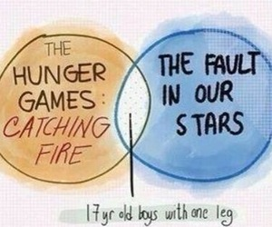 the fault in our stars, the hunger games, and tfios image