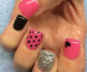 bow, nail, and pink image