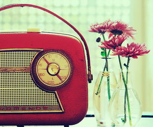 flowers, radio, and vintage image