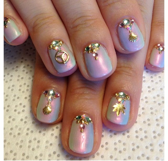 iridescent nails shared by Frostine H on We Heart It
