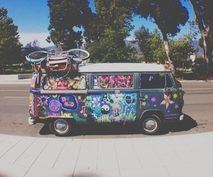 hippie, vans, and peace image