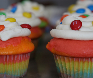cupcake, cake, and rainbow image
