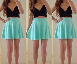 outfit, skirt, and blue image