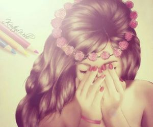 girl, pink, and flower hair image