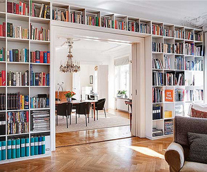 bookcase, books, and room image