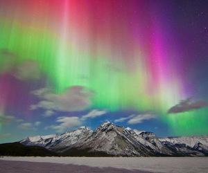 aurora borealis, landscapes, and mountain image