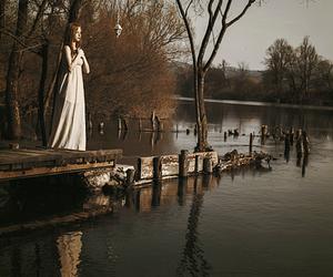 alone, dress, and lake image