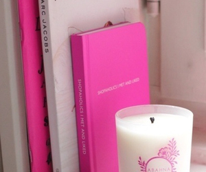book, candle, and pink image