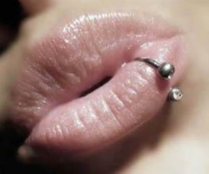 lips, piercing, and random image