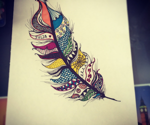 art, colorful, and feather image